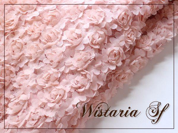 画像2: 幅135cm・立体お花のレース生地・ピンク