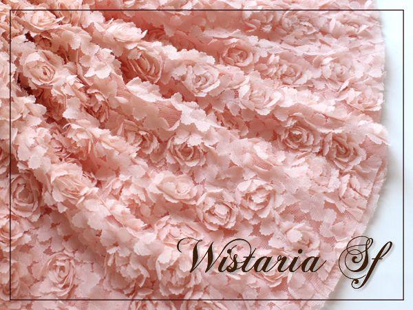 画像1: 幅135cm・立体お花のレース生地・ピンク