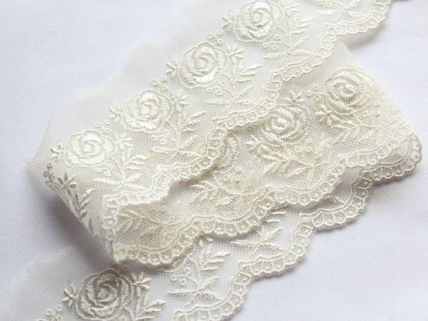 画像3: 5cm・刺繍チュールレース・オフホワイト〔TU-L-88〕