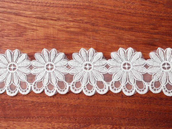 画像3: 6.5cm・刺繍チュールレース・オフホワイト〔TU-L-108〕