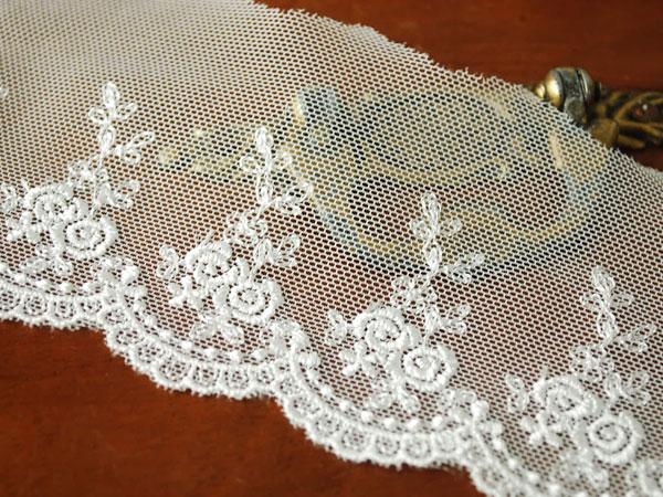 画像1: 7cm・刺繍チュールレース・薔薇・オフホワイト〔TU-L-163〕