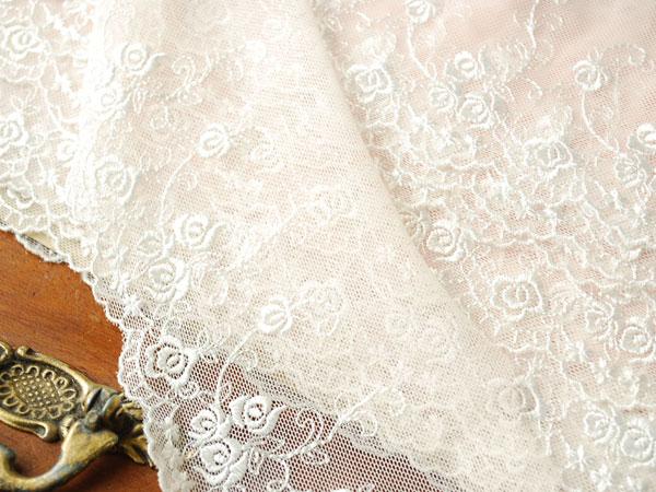 画像1: 9cm・刺繍チュールレース・オフホワイト&ペイルピンク〔TU-L-125〕