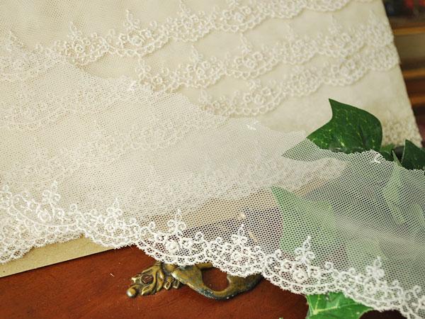 画像1: 7cm・刺繍チュールレース・薔薇・ベージュ〔TU-L-164〕