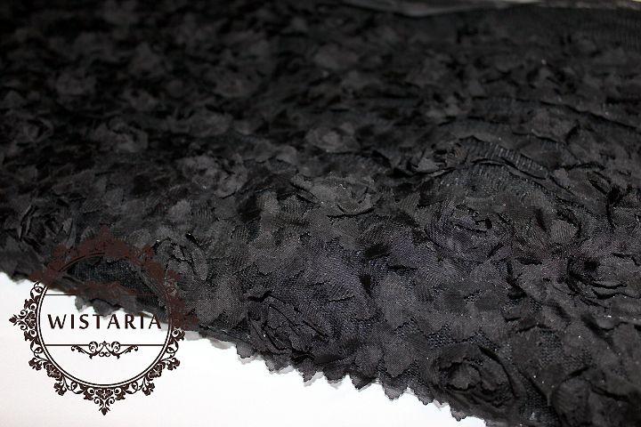 画像1: 幅135cm・立体お花のレース生地・ブラック