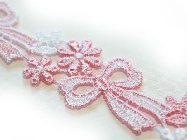 画像1: 2.6cm・刺繍ケミカルレース・ピンク&オフホワイト〔CH-L-16〕