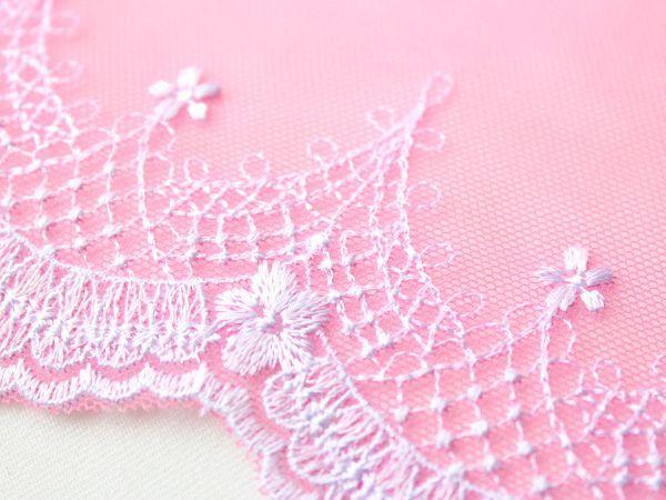 画像3: 19cm・刺繍チュールレース・オフホワイト&ピンク〔TU-L-116〕