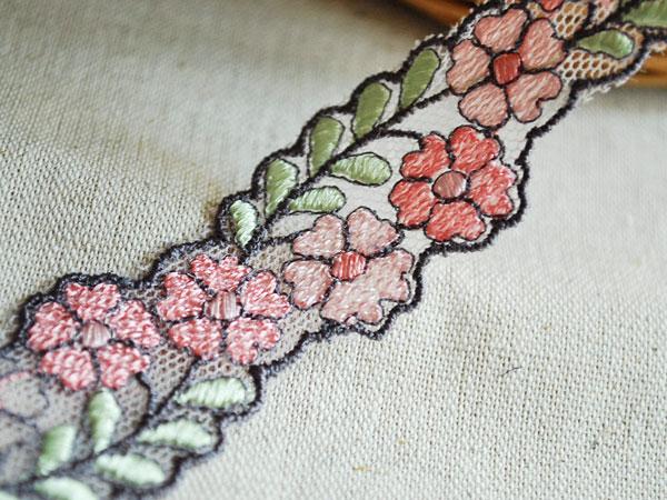画像2: 2.5cm・刺繍チュールレース・ピンク&グレイ〔TU-L-172〕