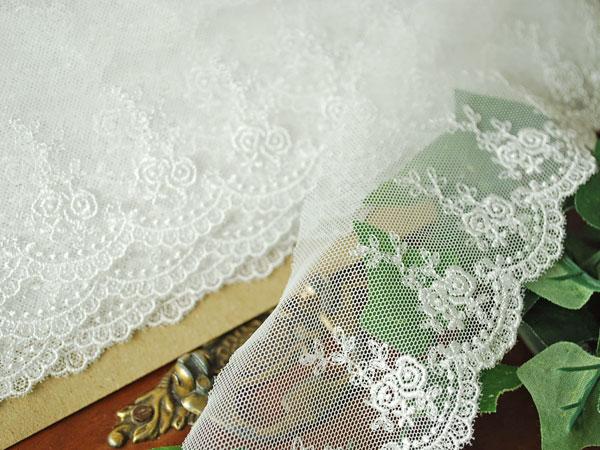 画像2: 7cm・刺繍チュールレース・薔薇・オフホワイト〔TU-L-163〕