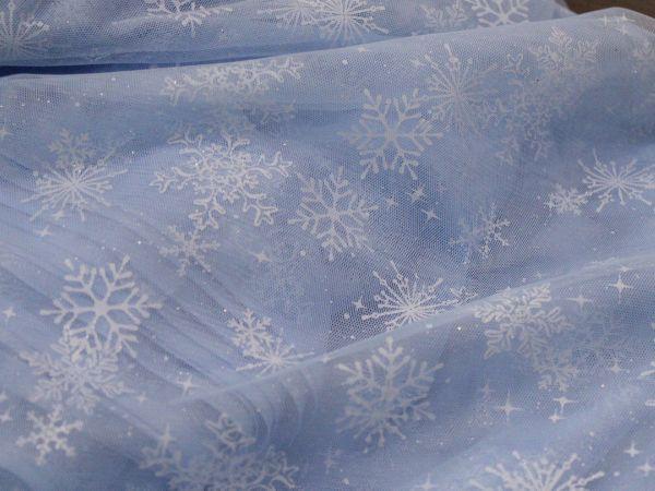 画像2: 幅145cm・チュール生地・雪の結晶・サックスブルー(50cm単位)
